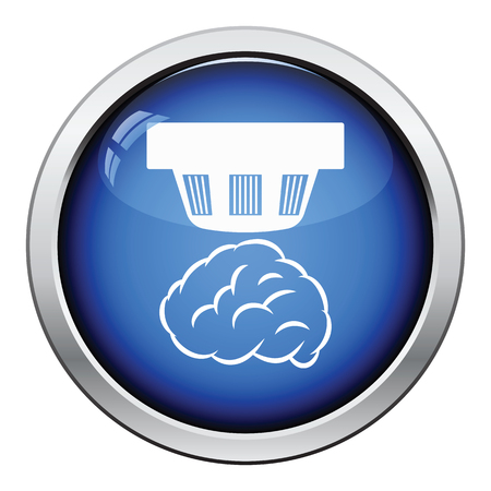 detection: Smoke sensor icon. Glossy button design. Vector illustration.