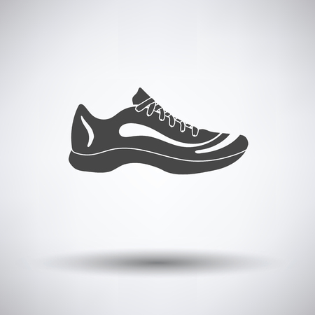 Sneaker icon on gray background with round shadow. Vector illustration.