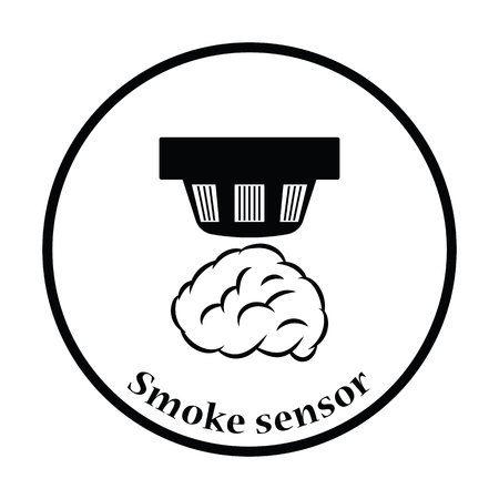 sensor: Smoke sensor icon. Thin circle design. Vector illustration. Illustration