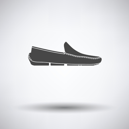 Moccasin icon on gray background with round shadow. Vector illustration. Illustration