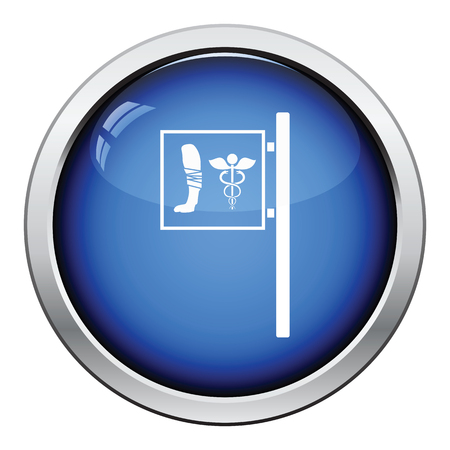 pet breeding: Vet clinic icon. Glossy button design. Vector illustration.