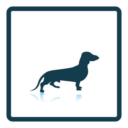 wag: Dachshund dog icon. Shadow reflection design. Vector illustration.