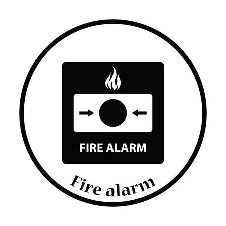 intruder: Fire alarm icon. Thin circle design. Vector illustration.