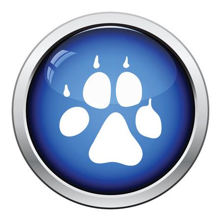 pet breeding: Dog trail icon. Glossy button design. Vector illustration.
