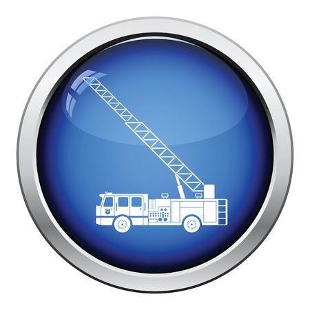 firetruck: Fire service truck icon. Glossy button design. Vector illustration.