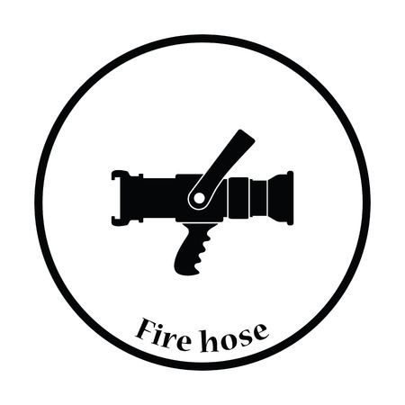 fire protection: Fire hose icon. Thin circle design. Vector illustration.