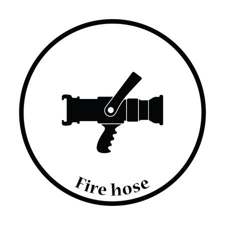 icono de manguera de incendios. diseño del círculo delgada. Ilustración del vector.