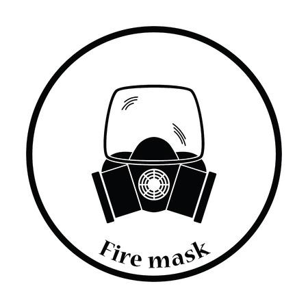 preventive: Fire mask icon. Thin circle design. Vector illustration.