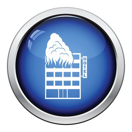building fire: Hotel building in fire icon. Glossy button design. Vector illustration. Illustration
