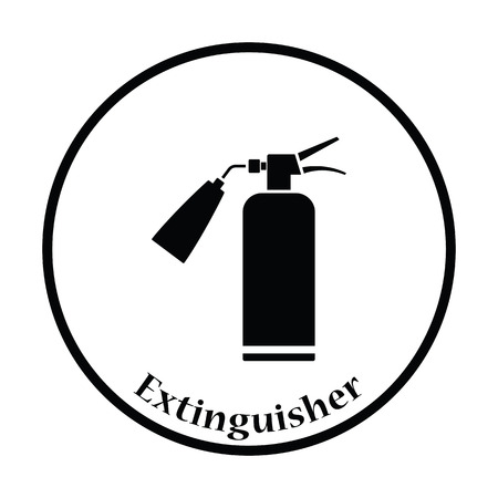 Fire extinguisher icon. Thin circle design. Vector illustration. Illustration