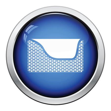 pet breeding: Dogs sleep basket icon. Glossy button design. Vector illustration.