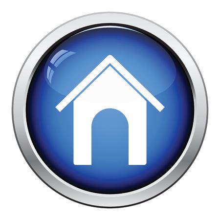 pet breeding: Dog house icon. Glossy button design. Vector illustration. Illustration