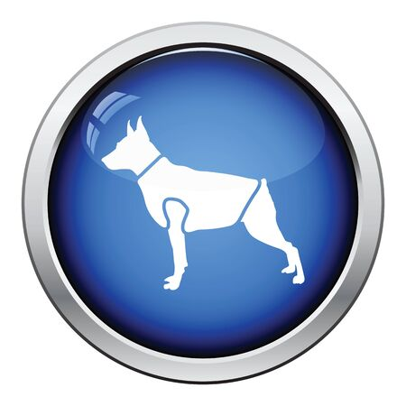 clothed: Dog cloth icon. Glossy button design. Vector illustration. Illustration