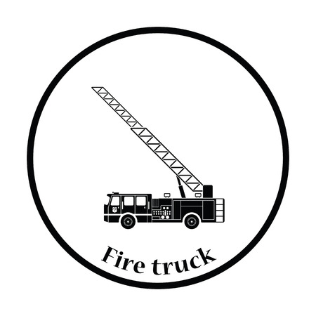 white truck: Fire service truck icon. Thin circle design. Vector illustration.