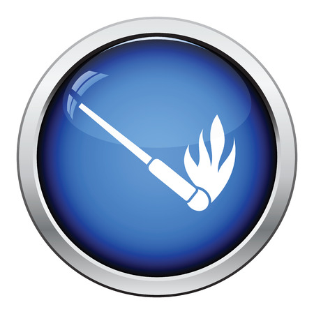 Burning matchstik icon. Glossy button design. Vector illustration. Illustration