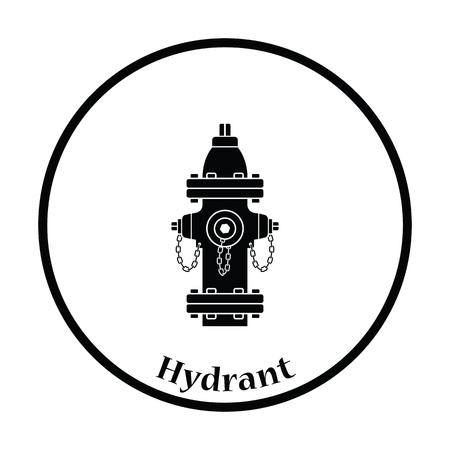 Fire hydrant icon. Thin circle design. Vector illustration.
