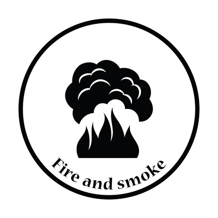 fire icon: Fire and smoke icon. Thin circle design. Vector illustration. Illustration