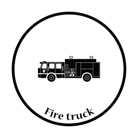 firetruck: Fire service truck icon. Thin circle design. Vector illustration.
