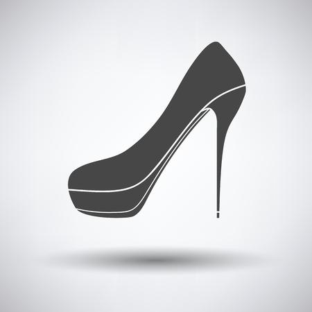 calcanhares: High heel shoe icon on gray background with round shadow. Vector illustration. Ilustração