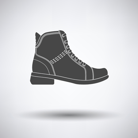 Woman boot icon on gray background with round shadow. Vector illustration. Illustration