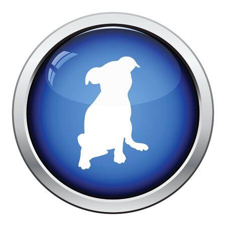 whelp: Puppy icon. Glossy button design. Vector illustration. Illustration