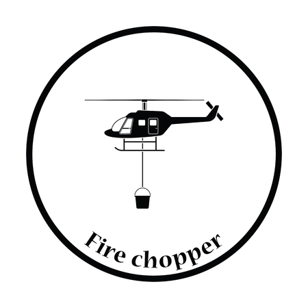 Fire service helicopter icon. Thin circle design. Vector illustration. Illustration