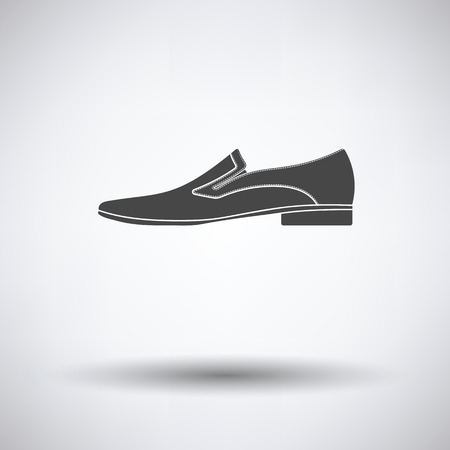Man shoe icon on gray background with round shadow. Vector illustration. Illustration
