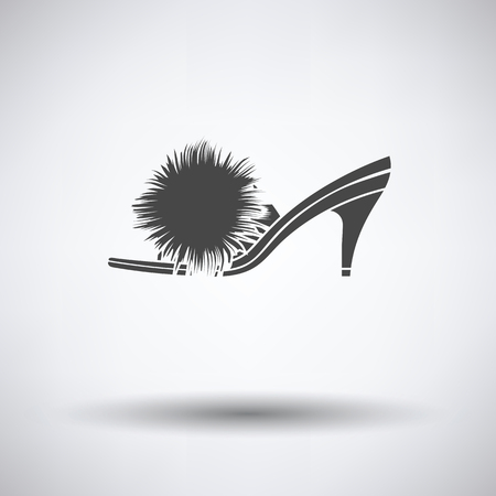 downy: Woman pom-pom shoe icon on gray background with round shadow. Vector illustration.