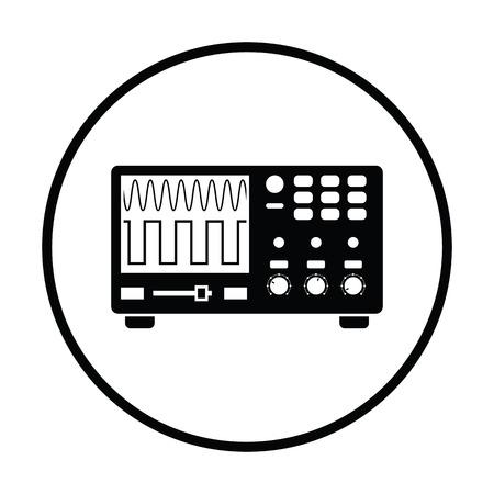 oscilloscope: Oscilloscope icon. Thin circle design. Vector illustration.