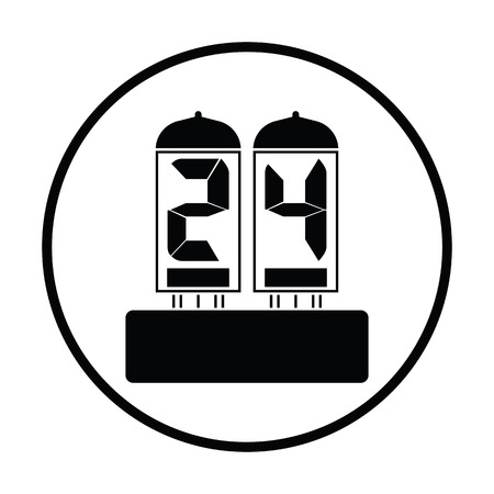 Electric numeral lamp icon. Thin circle design. Vector illustration.