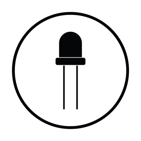 diode: Light-emitting diode icon. Thin circle design. Vector illustration.