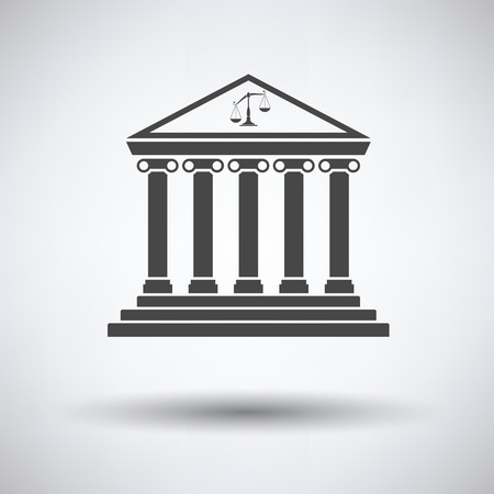 courthouse: Courthouse icon on gray background with round shadow. Vector illustration.