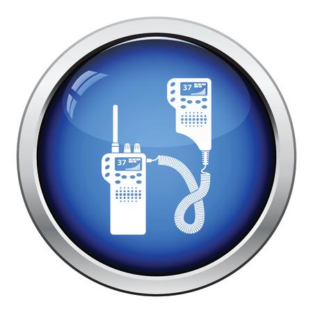 portability: Police radio icon. Glossy button design. Vector illustration. Illustration