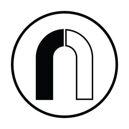 magnetismo: icono del imán. diseño del círculo delgada. Ilustración del vector. Vectores