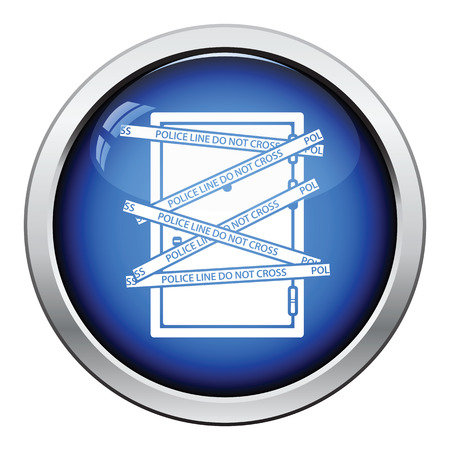 residential zone: Crime scene door icon. Glossy button design. Vector illustration.