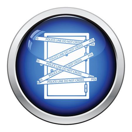 crime scene: Crime scene door icon. Glossy button design. Vector illustration.