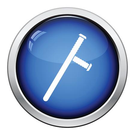 baton: Police baton icon. Glossy button design. Vector illustration.