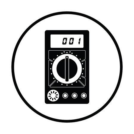 impedance: Multimeter icon. Thin circle design. Vector illustration.