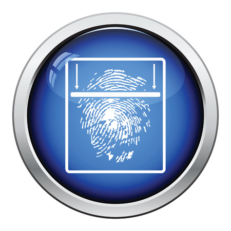 odcisk kciuka: Fingerprint scan icon. Glossy button design. Vector illustration.