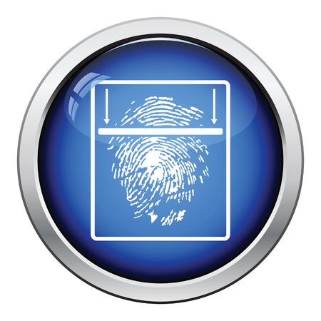 odcisk kciuka: Ikona skanowania linii papilarnych. Błyszczący przycisku Projekt. ilustracji wektorowych.