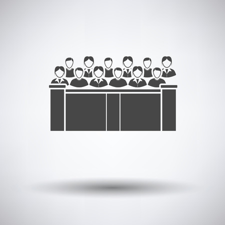 jurado: Jury icon on gray background with round shadow. Vector illustration. Vectores