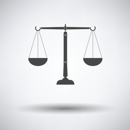 acquittal: Justice scale icon on gray background with round shadow. Vector illustration.