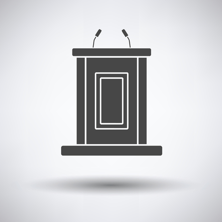 witness: Witness stand icon on gray background with round shadow. Vector illustration. Illustration