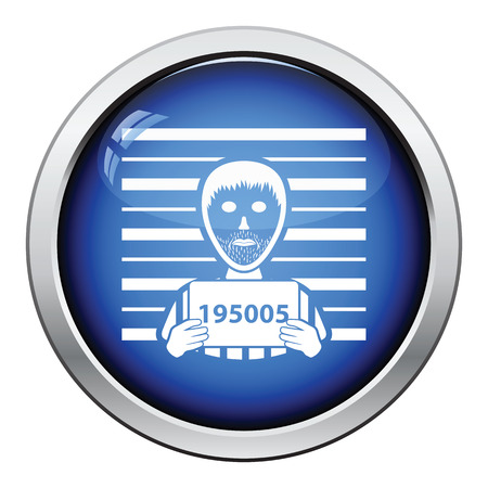 button front: Prisoner in front of wall with scale icon. Glossy button design. Vector illustration. Illustration