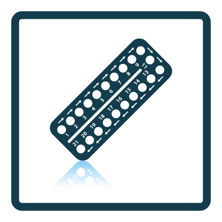 single whip: Contraceptive pill pack icon. Shadow reflection design. Vector illustration.