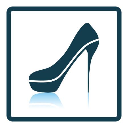 Sexy high heel shoe icon. Shadow reflection design. Vector illustration.
