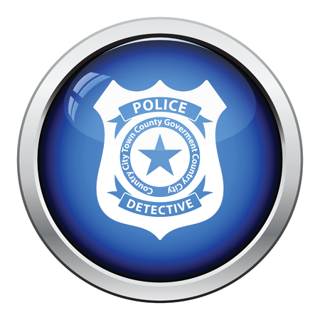 federal police: Police badge icon. Glossy button design. Vector illustration.