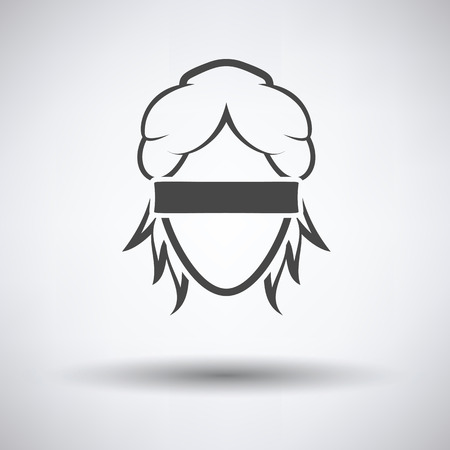 Femida head icon on gray background with round shadow. Vector illustration.