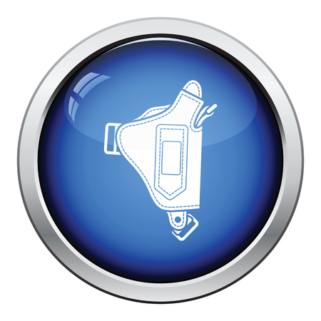 peacemaker: Police holster gun icon. Glossy button design. Vector illustration.
