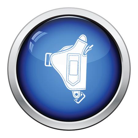 holster: Police holster gun icon. Glossy button design. Vector illustration.